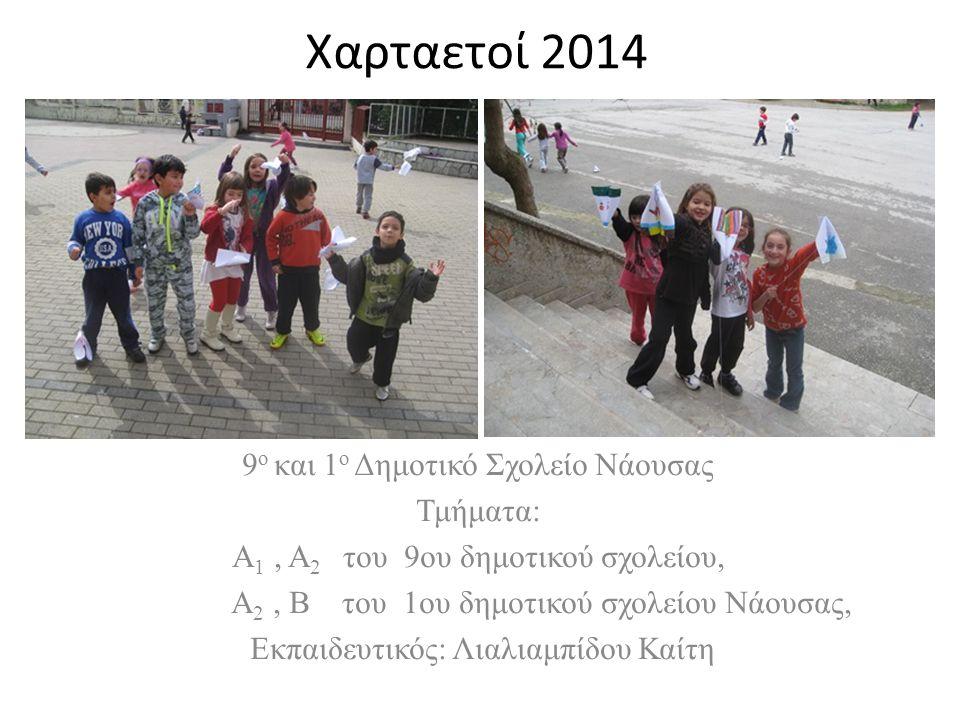 Χαρταετοί 2014 9 ο και 1 ο Δημοτικό Σχολείο Νάουσας Τμήματα: Α 1, Α 2 του 9ου δημοτικού σχολείου, Α 2, Β του 1ου δημοτικού σχολείου Νάουσας, Εκπαιδευτικός: Λιαλιαμπίδου Καίτη