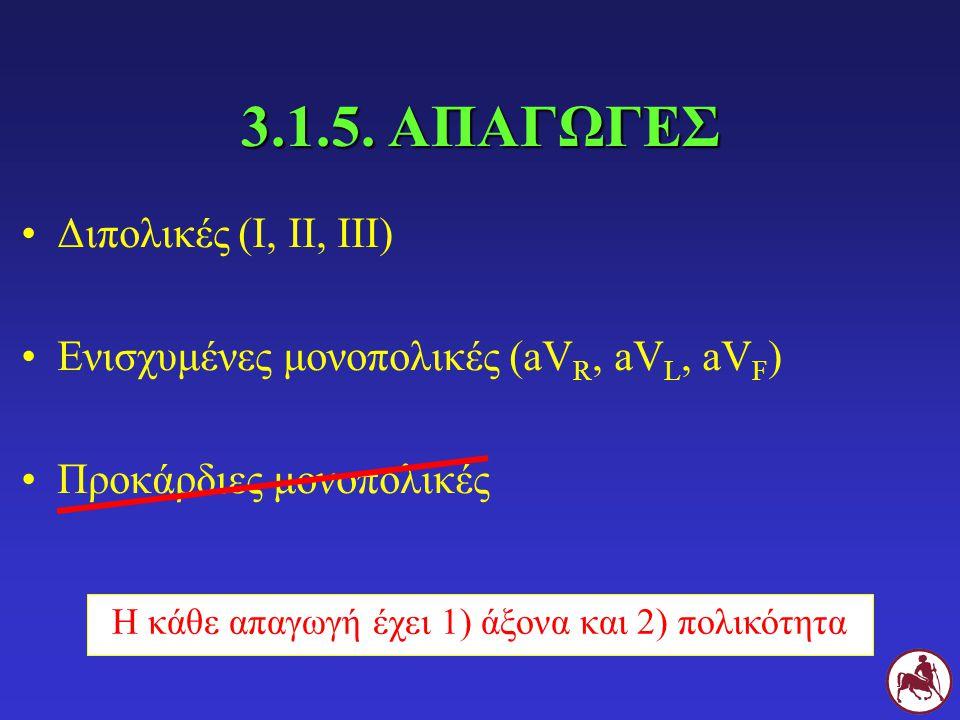 3.1.5. ΑΠΑΓΩΓΕΣ Διπολικές (I, II, III) Ενισχυμένες μονοπολικές (aV R, aV L, aV F ) Προκάρδιες μονοπολικές Η κάθε απαγωγή έχει 1) άξονα και 2) πολικότη