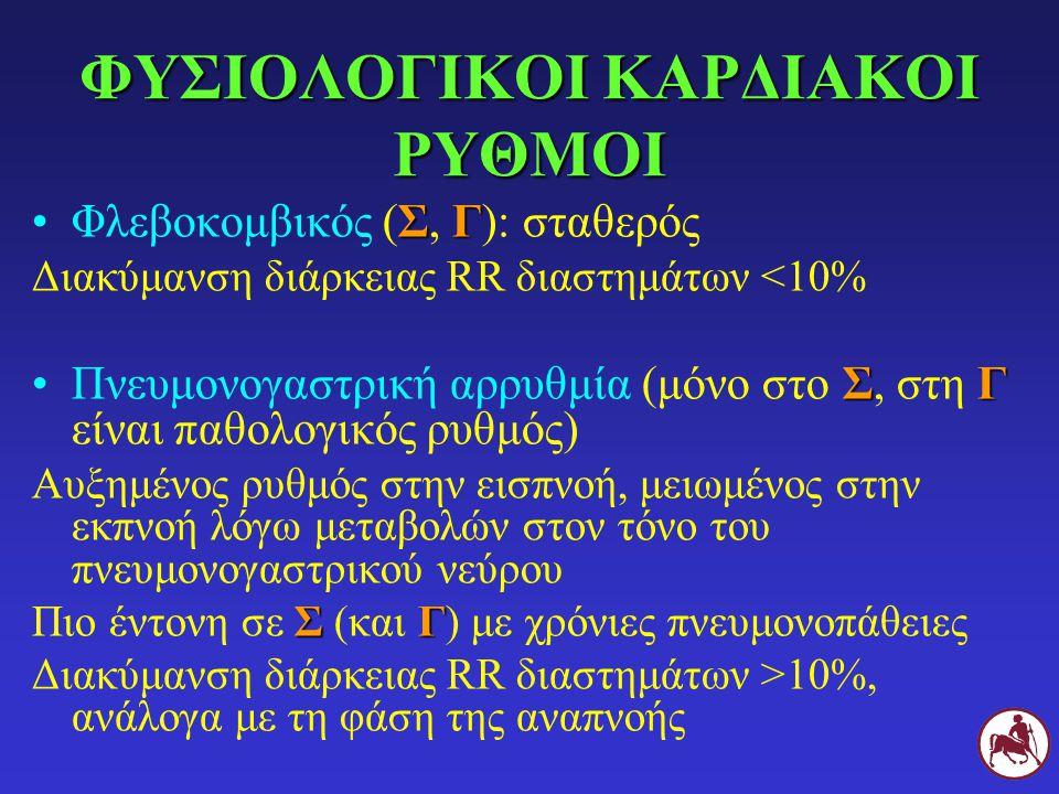 ΦΥΣΙΟΛΟΓΙΚΟΙ ΚΑΡΔΙΑΚΟΙ ΡΥΘΜΟΙ ΣΓΦλεβοκομβικός (Σ, Γ): σταθερός Διακύμανση διάρκειας RR διαστημάτων <10% ΣΓΠνευμονογαστρική αρρυθμία (μόνο στο Σ, στη Γ