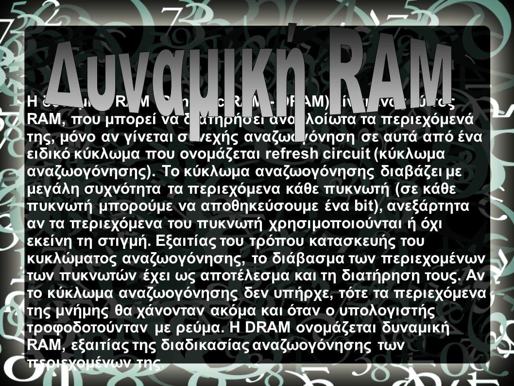 Η δυναμική RAM (Dynamic RAM - DRAM) είναι ένας τύπος RAM, που μπορεί να διατηρήσει αναλλοίωτα τα περιεχόμενά της, μόνο αν γίνεται συνεχής αναζωογόνηση