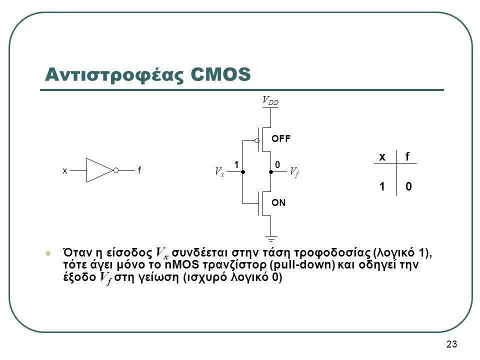 23 Όταν η είσοδος V x συνδέεται στην τάση τροφοδοσίας (λογικό 1), τότε άγει μόνο το nMOS τρανζίστορ (pull-down) και οδηγεί την έξοδο V f στη γείωση (ι