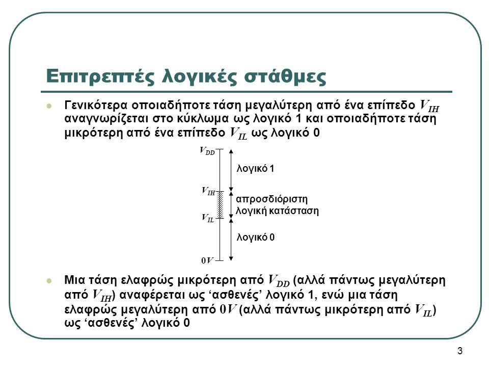 24 Όταν η είσοδος V x συνδέεται στην τάση τροφοδοσίας (λογικό 1), τότε άγει μόνο το nMOS τρανζίστορ (pull-down) και οδηγεί την έξοδο V f στη γείωση (ισχυρό λογικό 0) Όταν η είσοδος V x συνδέεται στη γείωση (λογικό 0), τότε άγει μόνο το pMOS τρανζίστορ (pull-up) και οδηγεί την έξοδο V f στην τάση τροφοδοσίας (ισχυρό λογικό 1) V DD Αντιστροφέας CMOS xf x f 0 1 1 0 VxVx VfVf 0 ON OFF 1