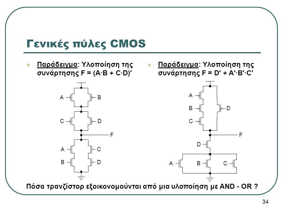 34 Γενικές πύλες CMOS Παράδειγμα: Υλοποίηση της συνάρτησης F = (Α·Β + C·D)' Παράδειγμα: Υλοποίηση της συνάρτησης F = D' + A'·B'·C' A B C D A C B D FF