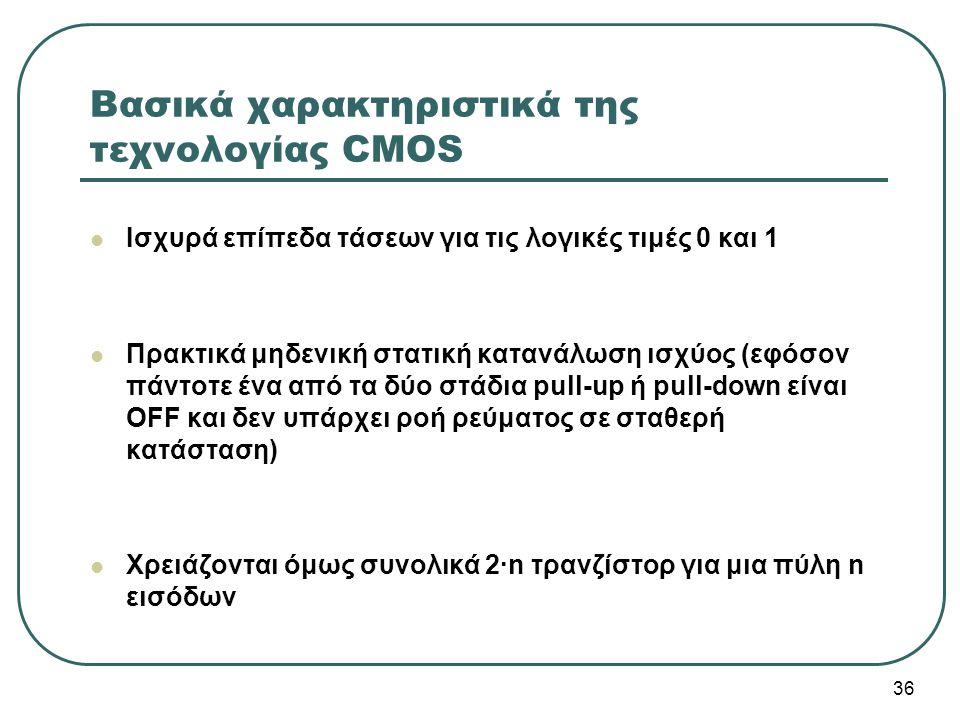 36 Βασικά χαρακτηριστικά της τεχνολογίας CMOS Ισχυρά επίπεδα τάσεων για τις λογικές τιμές 0 και 1 Πρακτικά μηδενική στατική κατανάλωση ισχύος (εφόσον