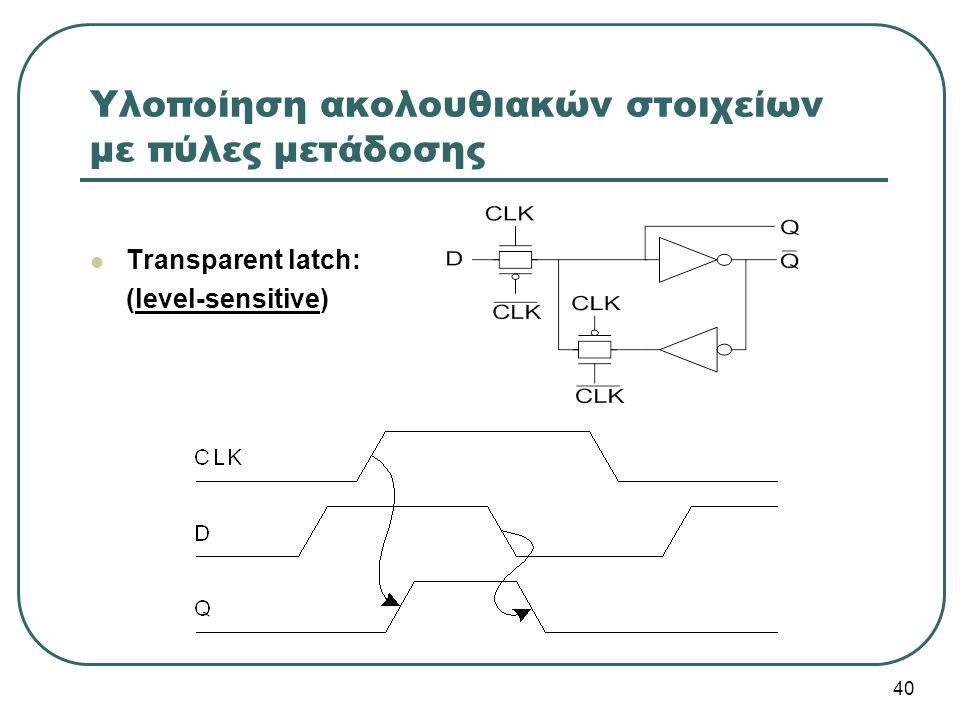 Υλοποίηση ακολουθιακών στοιχείων με πύλες μετάδοσης Transparent latch: (level-sensitive) 40