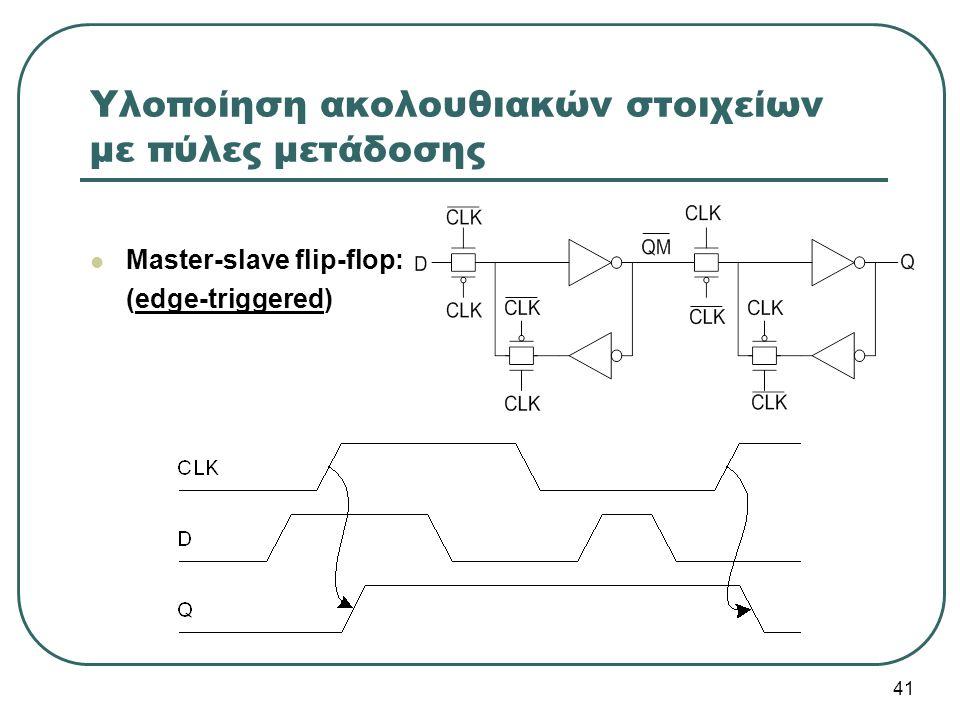 Υλοποίηση ακολουθιακών στοιχείων με πύλες μετάδοσης Master-slave flip-flop: (edge-triggered) 41