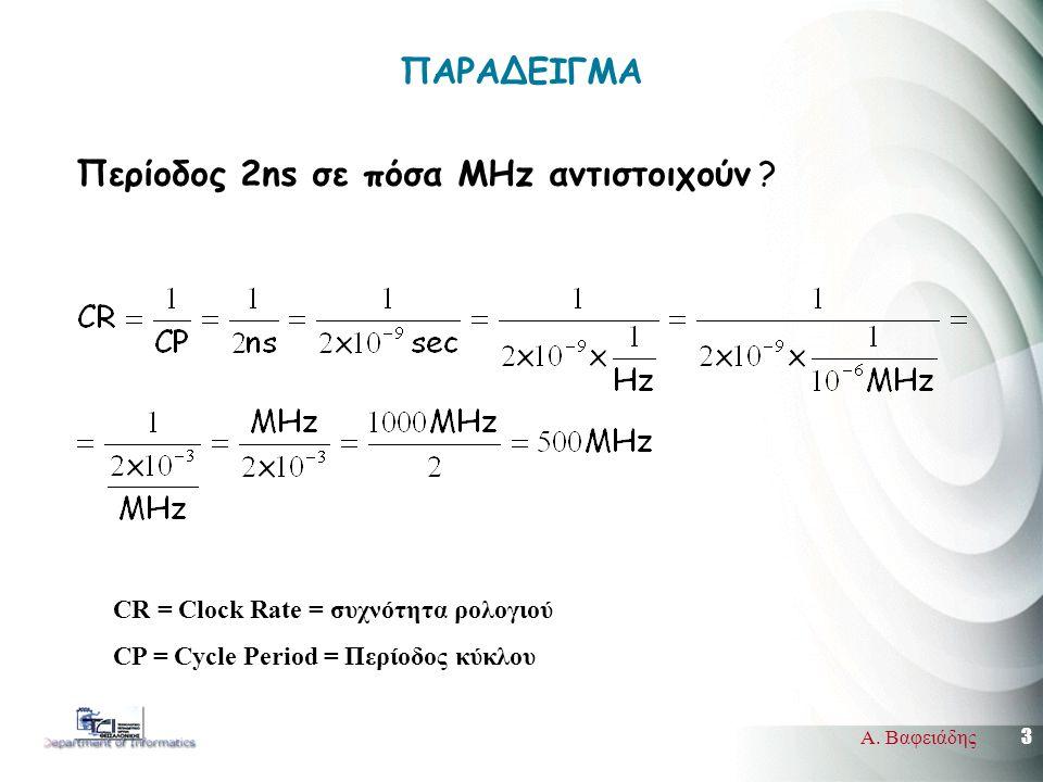 3 Α. Βαφειάδης ΠΑΡΑΔΕΙΓΜΑ Περίοδος 2ns σε πόσα MΗz αντιστοιχούν .