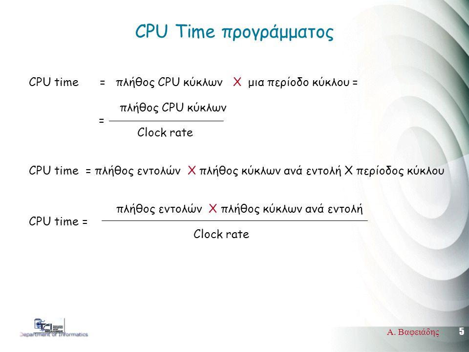 5 Α. Βαφειάδης CPU Time προγράμματος CPU time = πλήθος CPU κύκλων Χ μια περίοδο κύκλου = πλήθος CPU κύκλων = Clock rate CPU time = πλήθος εντολών Χ πλ