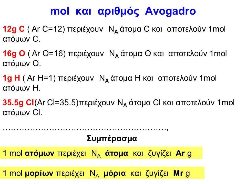 Ορισμός του mol Μονάδα ποσότητας ουσίας στο SI.(από το 1971) 1 mol ποσότητας μιας ουσίας περιέχει τόσα στοιχειώδη σωμάτια, όσα περιέχονται σε 12 g του