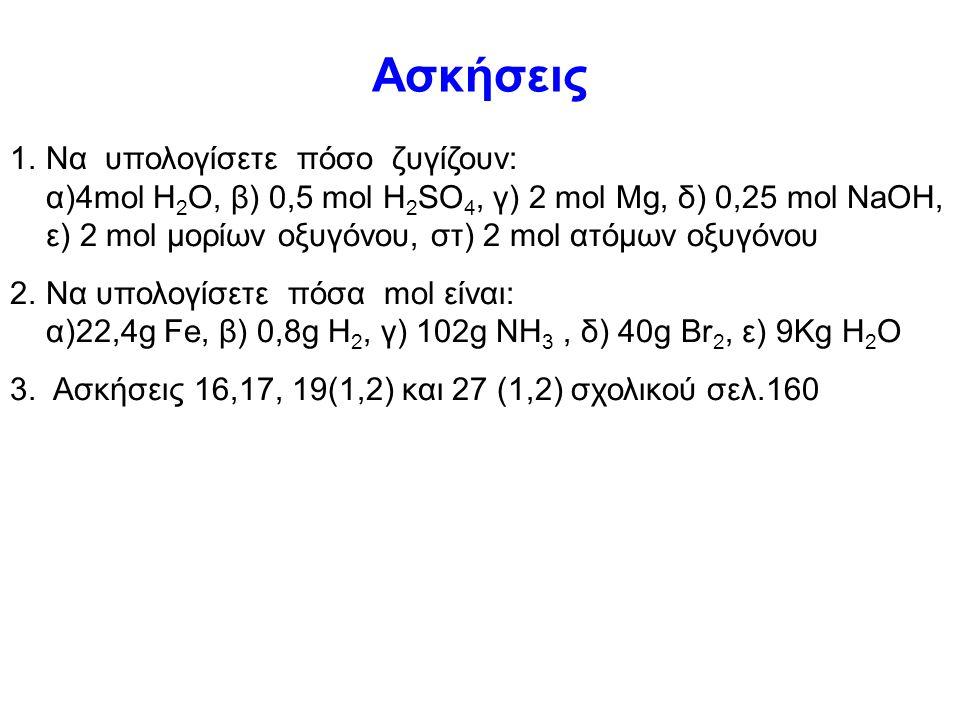 Ένα άλλο παράδειγμα 1 μόριο NH 3 αποτελείται από 1 άτομο Ν και 3 άτομα Η Ν Α μόρια ΝΗ 3 περιέχουν Ν Α άτομα Ν και 3Ν Α άτομα Η 1 mol μορίων ΝΗ 3 αποτε