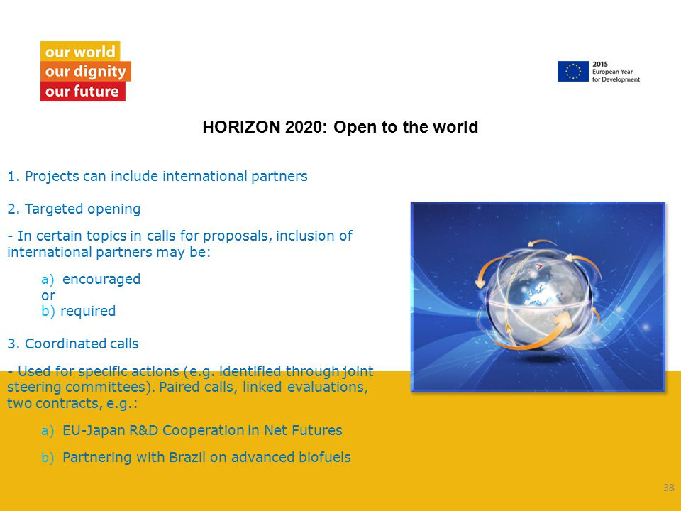 39  Applicants from non-EU countries are eligible to take part in Horizon 2020 programmes, even as coordinator  All proposals must meet certain minimum conditions (in Rules for Participation) Rules of participation