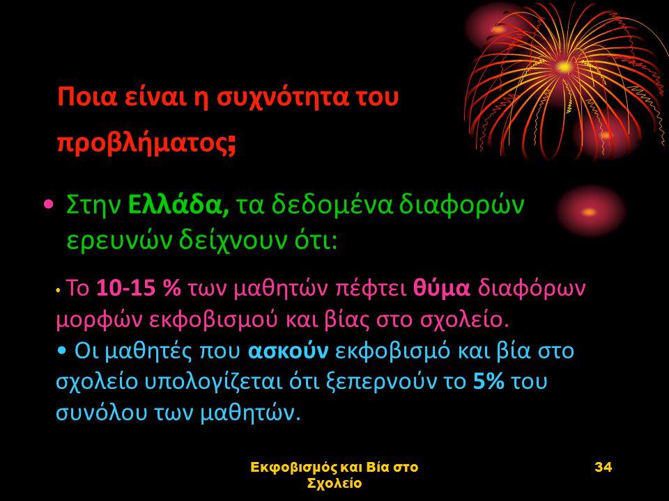 Εκφοβισμός και Βία στο Σχολείο 34 Ποια είναι η συχνότητα του προβλήματος ; Στην Ελλάδα, τα δεδομένα διαφορών ερευνών δείχνουν ότι: Το 10-15 % των μαθη