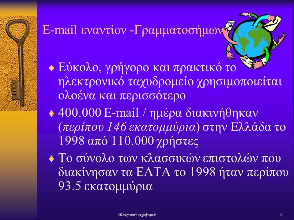 5 Ηλεκτρονικό ταχυδρομείο E-mail εναντίoν -Γραμματοσήμων  Εύκολο, γρήγορο και πρακτικό το ηλεκτρονικό ταχυδρομείο χρησιμοποιείται ολοένα και περισσότ