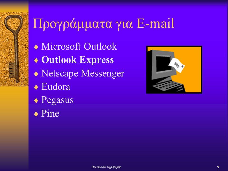 8 Ηλεκτρονικό ταχυδρομείο Εκκίνηση του Outlook Express