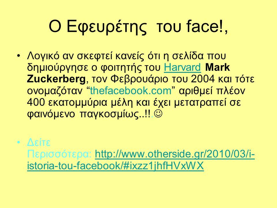Ο Εφευρέτης του face!, Λογικό αν σκεφτεί κανείς ότι η σελίδα που δημιούργησε ο φοιτητής του Harvard Mark Zuckerberg, τον Φεβρουάριο του 2004 και τότε ονομαζόταν thefacebook.com αριθμεί πλέον 400 εκατομμύρια μέλη και έχει μετατραπεί σε φαινόμενο παγκοσμίως..!!.