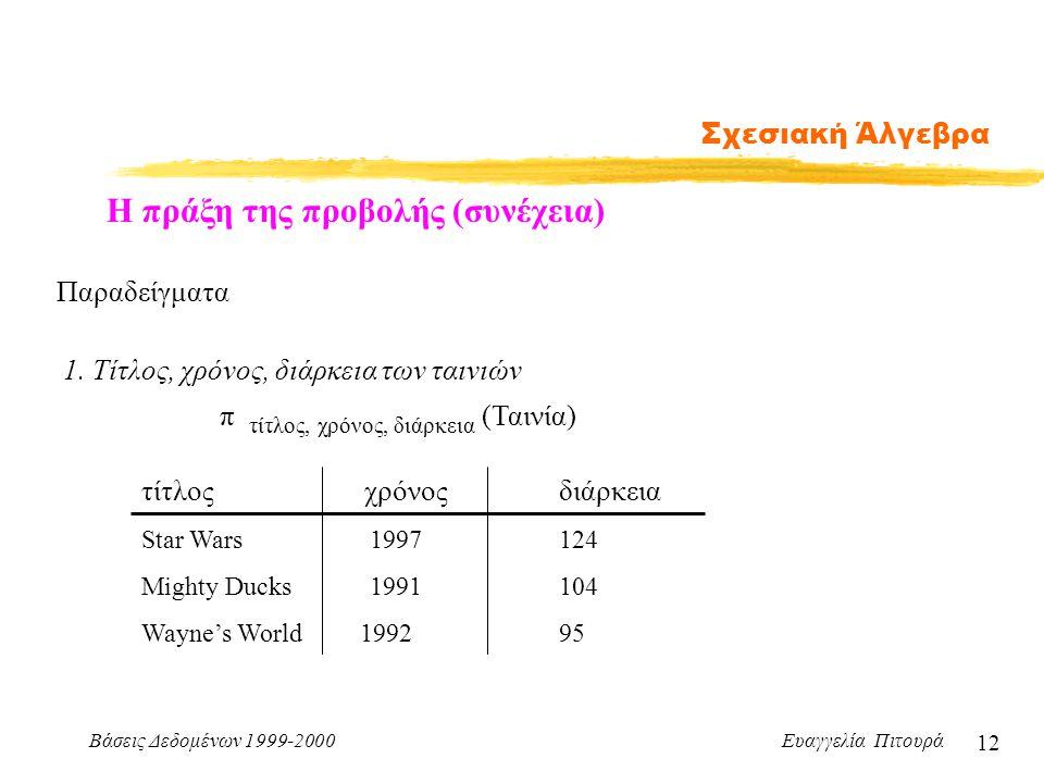 Βάσεις Δεδομένων 1999-2000 Ευαγγελία Πιτουρά 12 Σχεσιακή Άλγεβρα Η πράξη της προβολής (συνέχεια) Παραδείγματα 1. Τίτλος, χρόνος, διάρκεια των ταινιών