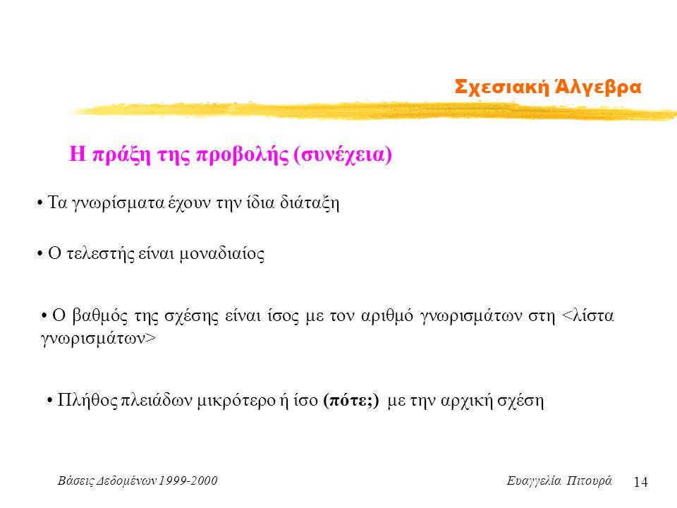 Βάσεις Δεδομένων 1999-2000 Ευαγγελία Πιτουρά 14 Σχεσιακή Άλγεβρα Η πράξη της προβολής (συνέχεια) Τα γνωρίσματα έχουν την ίδια διάταξη Ο τελεστής είναι
