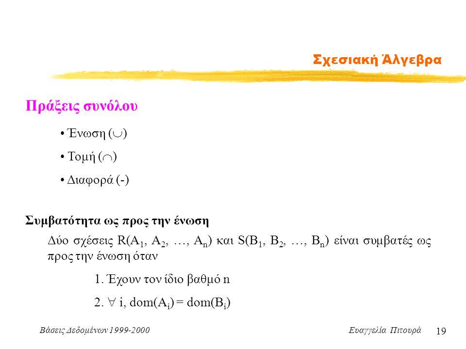 Βάσεις Δεδομένων 1999-2000 Ευαγγελία Πιτουρά 19 Σχεσιακή Άλγεβρα Πράξεις συνόλου Ένωση (  ) Τομή (  ) Διαφορά (-) Συμβατότητα ως προς την ένωση Δύo