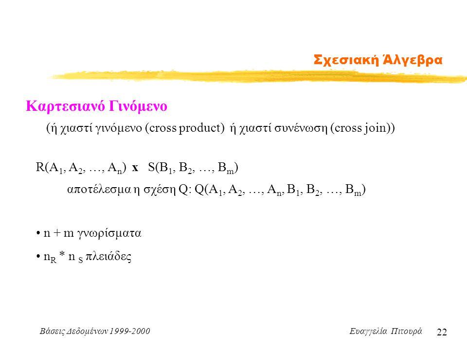 Βάσεις Δεδομένων 1999-2000 Ευαγγελία Πιτουρά 22 Σχεσιακή Άλγεβρα Καρτεσιανό Γινόμενο R(A 1, A 2, …, A n ) x S(B 1, B 2, …, B m ) (ή χιαστί γινόμενο (c