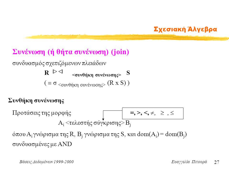 Βάσεις Δεδομένων 1999-2000 Ευαγγελία Πιτουρά 27 Σχεσιακή Άλγεβρα Συνένωση (ή θήτα συνένωση) (join) συνδυασμός σχετιζόμενων πλειάδων R S (  σ (R x S)