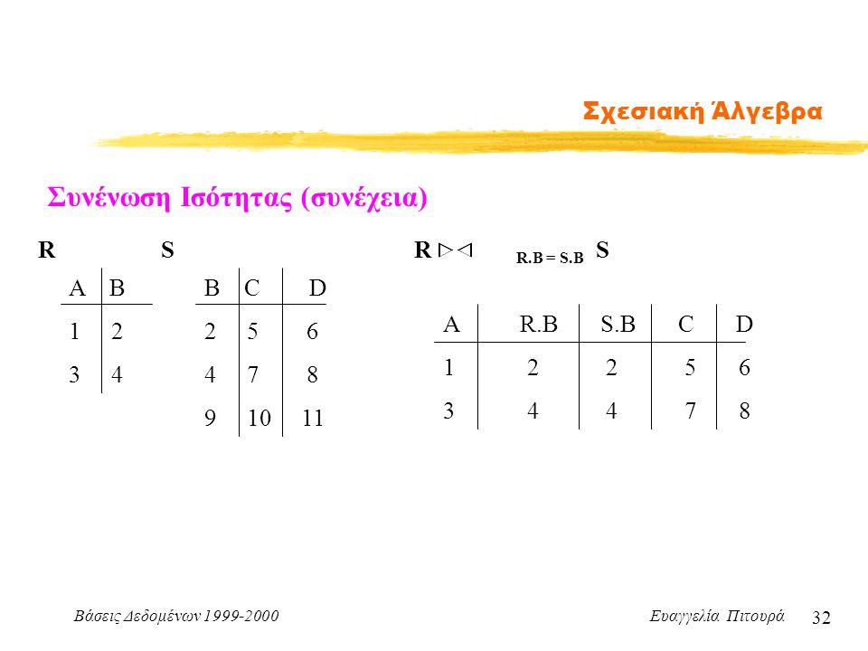 Βάσεις Δεδομένων 1999-2000 Ευαγγελία Πιτουρά 32 Σχεσιακή Άλγεβρα Συνένωση Ισότητας (συνέχεια) Α Β 1 2 3 4 B C D 2 5 6 4 7 8 9 10 11 RS A R.B S.B C D 1