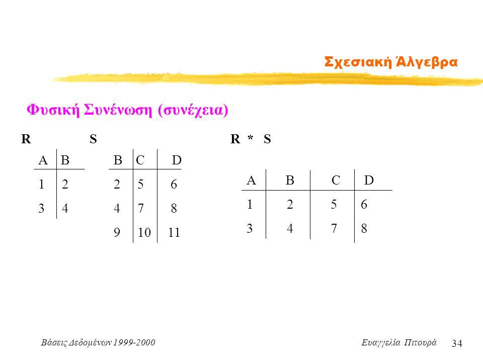 Βάσεις Δεδομένων 1999-2000 Ευαγγελία Πιτουρά 34 Σχεσιακή Άλγεβρα Φυσική Συνένωση (συνέχεια) Α Β 1 2 3 4 B C D 2 5 6 4 7 8 9 10 11 RSR * S A B C D 1 2