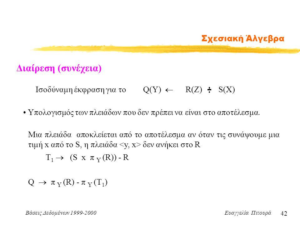 Βάσεις Δεδομένων 1999-2000 Ευαγγελία Πιτουρά 42 Σχεσιακή Άλγεβρα Διαίρεση (συνέχεια) Iσοδύναμη έκφραση για το Υπολογισμός των πλειάδων που δεν πρέπει