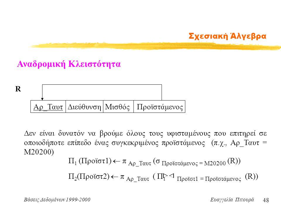 Βάσεις Δεδομένων 1999-2000 Ευαγγελία Πιτουρά 48 Σχεσιακή Άλγεβρα Αναδρομική Κλειστότητα Αρ_Ταυτ Διεύθυνση Μισθός Προϊστάμενος Δεν είναι δυνατόν να βρο