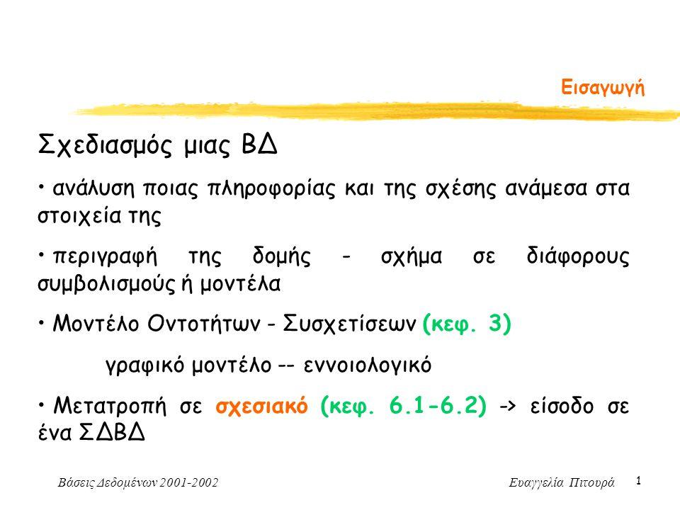 Βάσεις Δεδομένων 2001-2002 Ευαγγελία Πιτουρά 1 Εισαγωγή Σχεδιασμός μιας ΒΔ ανάλυση ποιας πληροφορίας και της σχέσης ανάμεσα στα στοιχεία της περιγραφή της δομής - σχήμα σε διάφορους συμβολισμούς ή μοντέλα Μοντέλο Οντοτήτων - Συσχετίσεων (κεφ.