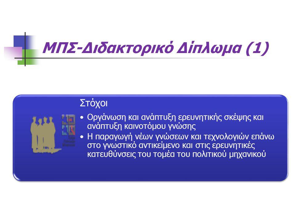 ΜΠΣ-Διδακτορικό Δίπλωμα (1) Στόχοι Οργάνωση και ανάπτυξη ερευνητικής σκέψης και ανάπτυξη καινοτόμου γνώσης Η παραγωγή νέων γνώσεων και τεχνολογιών επάνω στο γνωστικό αντικείμενο και στις ερευνητικές κατευθύνσεις του τομέα του πολιτικού μηχανικού
