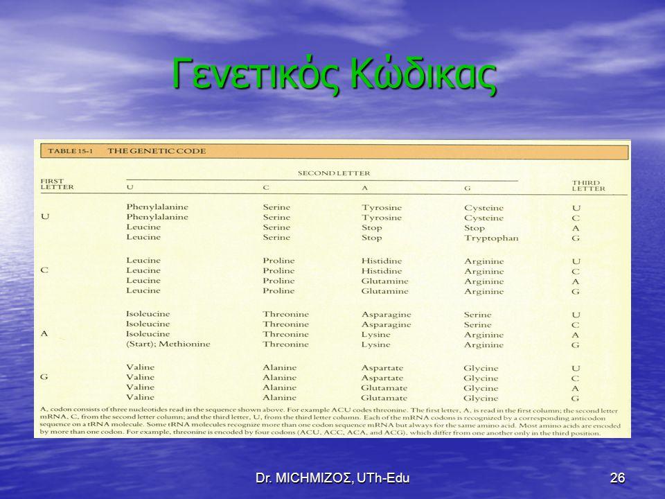 Dr. ΜΙCHΜΙΖΟΣ, UTh-Edu26 Γενετικός Κώδικας
