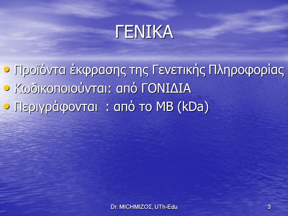 3 ΓΕΝΙΚΑ Προϊόντα έκφρασης της Γενετικής Πληροφορίας Προϊόντα έκφρασης της Γενετικής Πληροφορίας Κωδικοποιούνται: από ΓΟΝΙΔΙΑ Κωδικοποιούνται: από ΓΟΝΙΔΙΑ Περιγράφονται : από το ΜΒ (kDa) Περιγράφονται : από το ΜΒ (kDa)