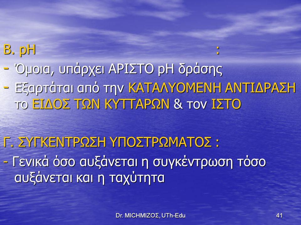 Dr. ΜΙCHΜΙΖΟΣ, UTh-Edu41 Β. pH : - Όμοια, υπάρχει ΑΡΙΣΤΟ pH δράσης - Εξαρτάται από την ΚΑΤΑΛΥΟΜΕΝΗ ΑΝΤΙΔΡΑΣΗ το ΕΙΔΟΣ ΤΩΝ ΚΥΤΤΑΡΩΝ & τον ΙΣΤΟ Γ. ΣΥΓΚΕ