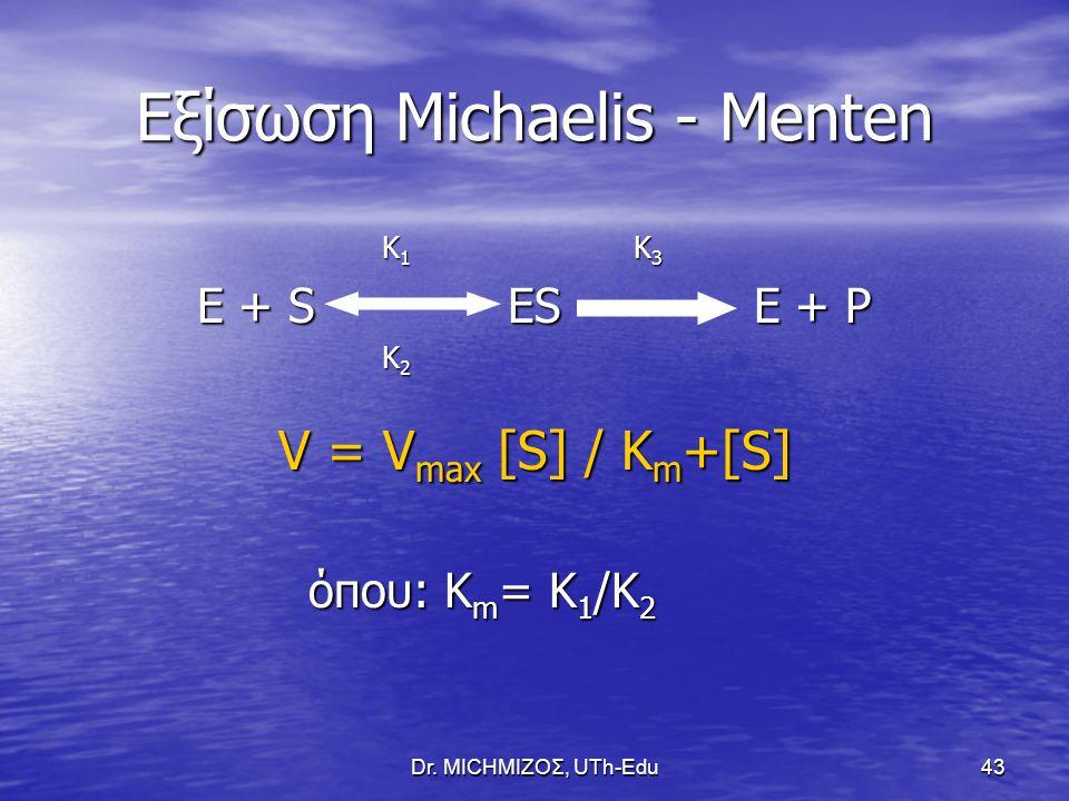 Dr. ΜΙCHΜΙΖΟΣ, UTh-Edu43 Εξίσωση Michaelis - Menten K 1 K 3 K 1 K 3 E + S ES E + P K 2 K 2 V = V max [S] / K m +[S] όπου: K m = K 1 /K 2 όπου: K m = K