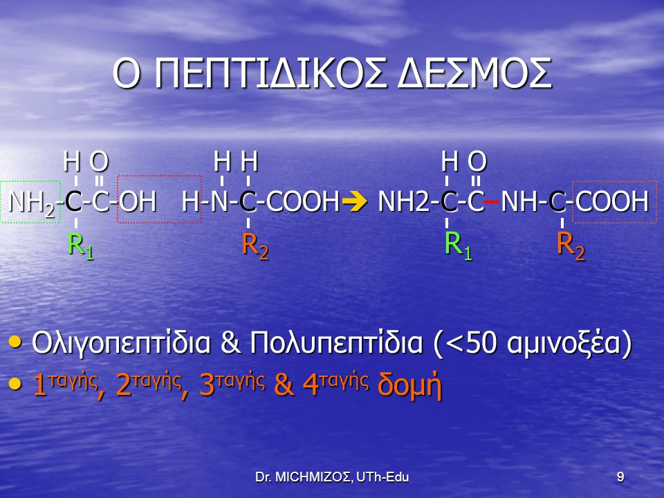 Dr. ΜΙCHΜΙΖΟΣ, UTh-Edu9 Ο ΠΕΠΤΙΔΙΚΟΣ ΔΕΣΜΟΣ H O H H H O H O H H H O ΝΗ 2 -C-C-OH H-N-C-COOH  NH2-C-C NH-C-COOH R 1 R 2 R 1 R 2 R 1 R 2 R 1 R 2 Ολιγοπ