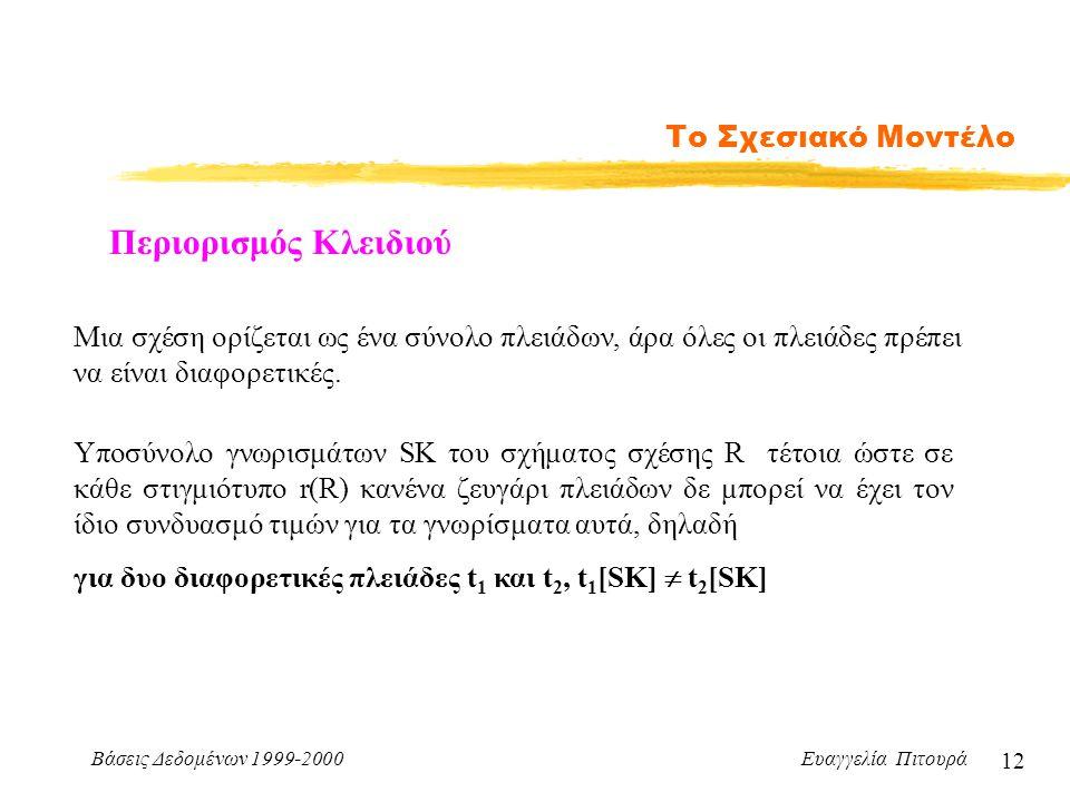 Βάσεις Δεδομένων 1999-2000 Ευαγγελία Πιτουρά 12 Το Σχεσιακό Μοντέλο Περιορισμός Κλειδιού Μια σχέση ορίζεται ως ένα σύνολο πλειάδων, άρα όλες οι πλειάδες πρέπει να είναι διαφορετικές.