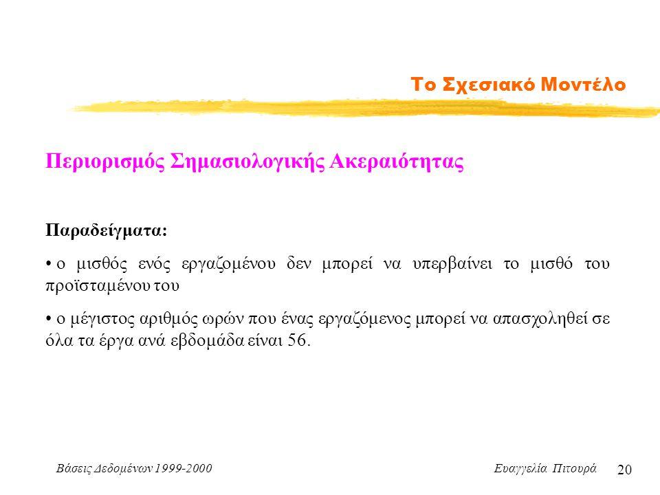 Βάσεις Δεδομένων 1999-2000 Ευαγγελία Πιτουρά 20 Το Σχεσιακό Μοντέλο Περιορισμός Σημασιολογικής Ακεραιότητας Παραδείγματα: ο μισθός ενός εργαζομένου δε