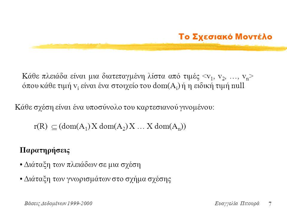 Βάσεις Δεδομένων 1999-2000 Ευαγγελία Πιτουρά 7 Το Σχεσιακό Μοντέλο Κάθε πλειάδα είναι μια διατεταγμένη λίστα από τιμές όπου κάθε τιμή v i είναι ένα στοιχείο του dom(A i ) ή η ειδική τιμή null r(R)  (dom(A 1 ) X dom(A 2 ) X … X dom(A n )) Κάθε σχέση είναι ένα υποσύνολο του καρτεσιανού γινομένου: Παρατηρήσεις Διάταξη των πλειάδων σε μια σχέση Διάταξη των γνωρισμάτων στο σχήμα σχέσης