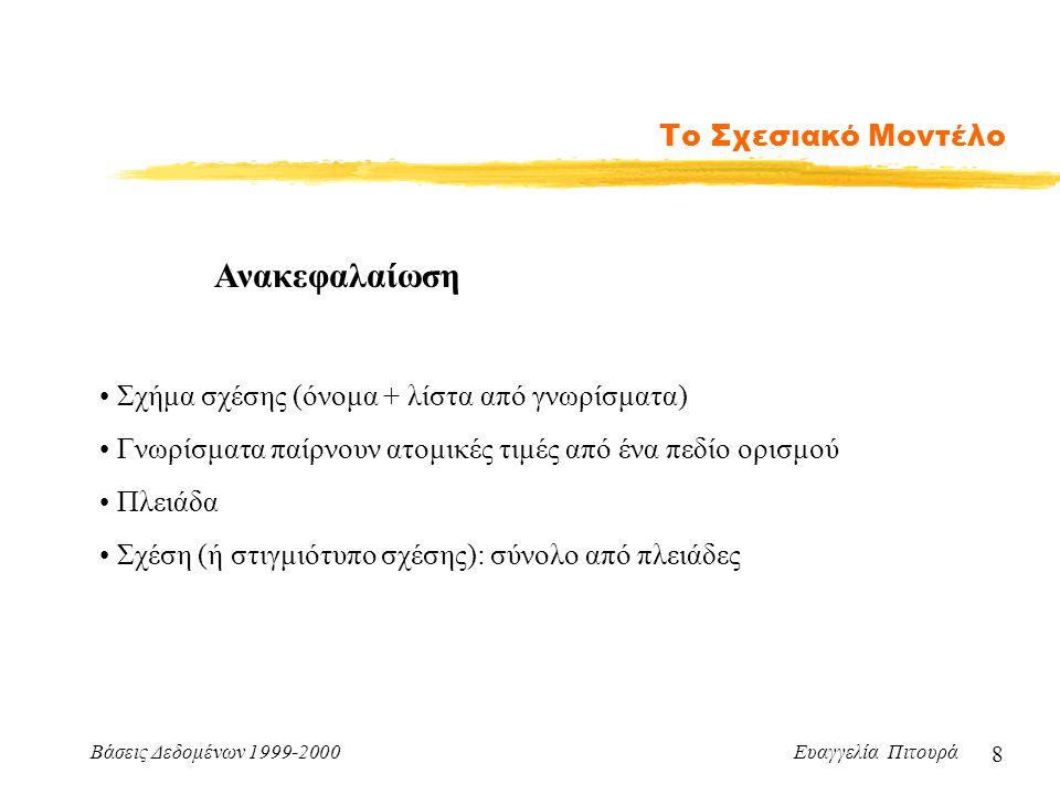 Βάσεις Δεδομένων 1999-2000 Ευαγγελία Πιτουρά 8 Το Σχεσιακό Μοντέλο Σχήμα σχέσης (όνομα + λίστα από γνωρίσματα) Γνωρίσματα παίρνουν ατομικές τιμές από ένα πεδίο ορισμού Πλειάδα Σχέση (ή στιγμιότυπο σχέσης): σύνολο από πλειάδες Ανακεφαλαίωση