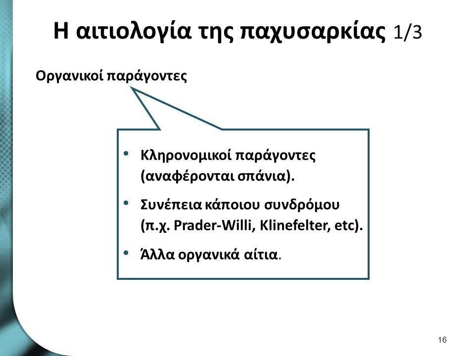 Η αιτιολογία της παχυσαρκίας 1/3 16 Οργανικοί παράγοντες Κληρονομικοί παράγοντες (αναφέρονται σπάνια). Συνέπεια κάποιου συνδρόμου (π.χ. Prader-Willi,