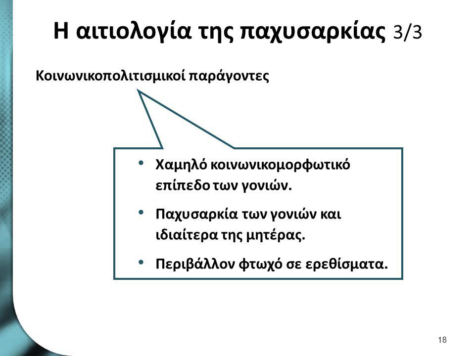 Η αιτιολογία της παχυσαρκίας 3/3 Κοινωνικοπολιτισμικοί παράγοντες 18 Χαμηλό κοινωνικομορφωτικό επίπεδο των γονιών.