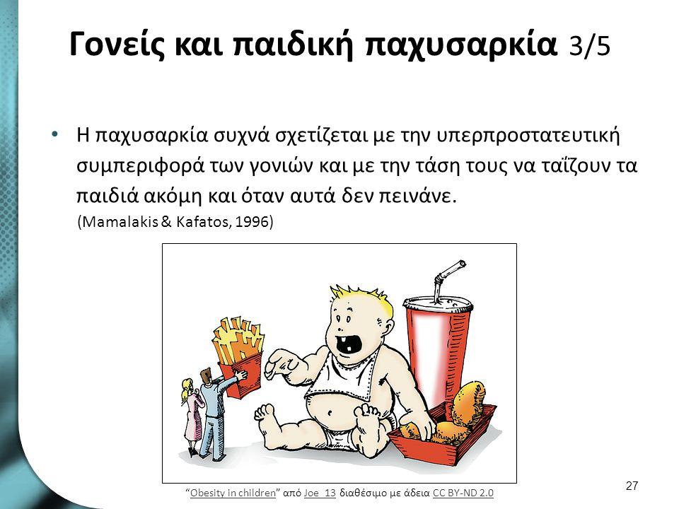 Γονείς και παιδική παχυσαρκία 3/5 Η παχυσαρκία συχνά σχετίζεται με την υπερπροστατευτική συμπεριφορά των γονιών και με την τάση τους να ταΐζουν τα παι