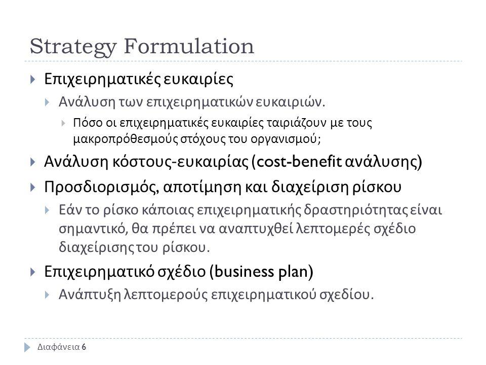 Strategy Formulation  Επιχειρηματικές ευκαιρίες  Ανάλυση των επιχειρηματικών ευκαιριών.