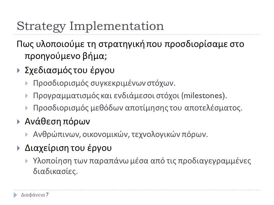 Strategy Implementation Πως υλοποιούμε τη στρατηγική που προσδιορίσαμε στο προηγούμενο βήμα ;  Σχεδιασμός του έργου  Προσδιορισμός συγκεκριμένων στόχων.