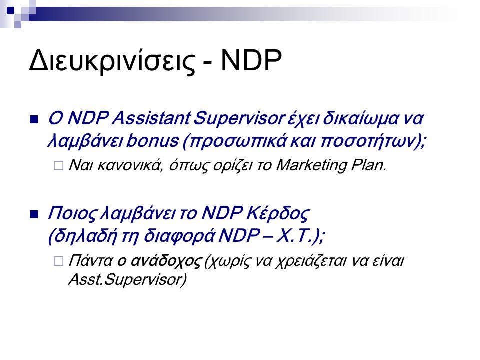Διευκρινίσεις - NDP Ο NDP Assistant Supervisor έχει δικαίωμα να λαμβάνει bonus (προσωπικά και ποσοτήτων);  Ναι κανονικά, όπως ορίζει το Marketing Plan.