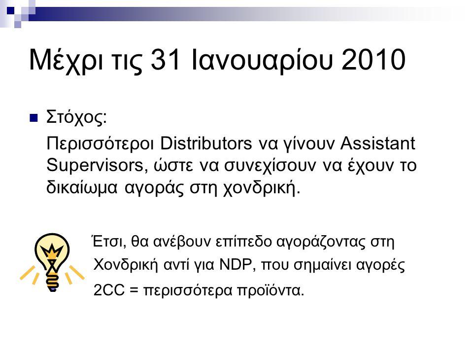 Μέχρι τις 31 Ιανουαρίου 2010 Στόχος: Περισσότεροι Distributors να γίνουν Assistant Supervisors, ώστε να συνεχίσουν να έχουν το δικαίωμα αγοράς στη χονδρική.