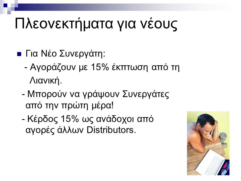 Πλεονεκτήματα για νέους Για Νέο Συνεργάτη: - Αγοράζουν με 15% έκπτωση από τη Λιανική.