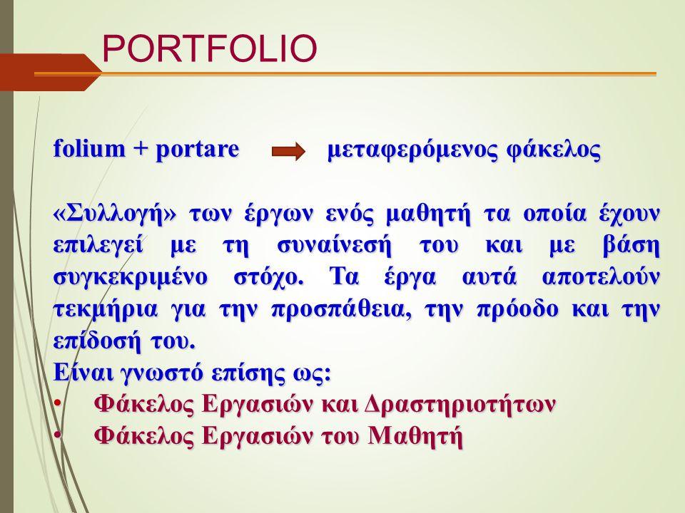 folium + portare μεταφερόμενος φάκελος «Συλλογή» των έργων ενός μαθητή τα οποία έχουν επιλεγεί με τη συναίνεσή του και με βάση συγκεκριμένο στόχο. Τα
