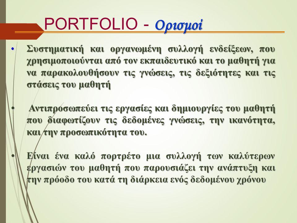 Ορισμοί PORTFOLIO - Ορισμοί Συστηματική και οργανωμένη συλλογή ενδείξεων, που χρησιμοποιούνται από τον εκπαιδευτικό και το μαθητή για να παρακολουθήσο