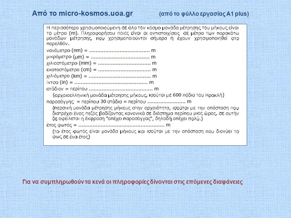 Από το micro-kosmos.uoa.gr (από το φύλλο εργασίας Α1 plus) Για να συμπληρωθούν τα κενά οι πληροφορίες δίνονται στις επόμενες διαφάνειες